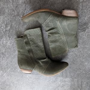 Fly London olive green leather booties